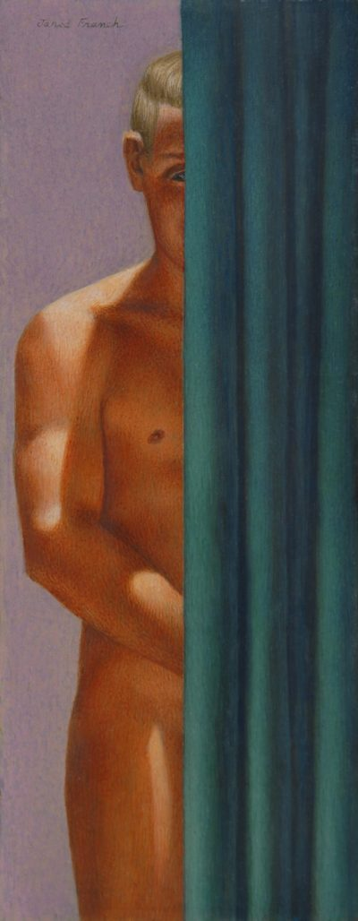 This work by Jared French shows a naked man behind a blue curtain