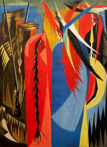 This colorful work by Jacob Lawrence shows a few characters and bright feathers