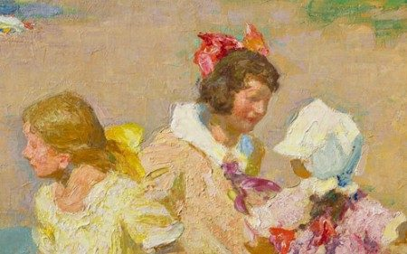 This work by Edward Henry Potthast depicts four girls playing on the beach