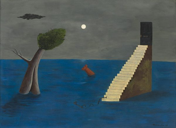 Painting by Abercrombie showing a bright blue sea in which are floating a tree, a red rook and a staircase leading to a door. In the grey background is a moon and a cloud