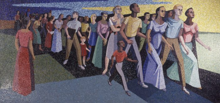This work by Charles Alston depicts a group of people: black and white women, men, and children are walking together