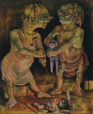 Alton Pickens surrealist picture with two kids playing with dolls