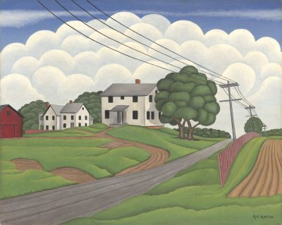 In this work by George Copeland Ault, a road leads to a few houses on a green hills, in front of round white clouds