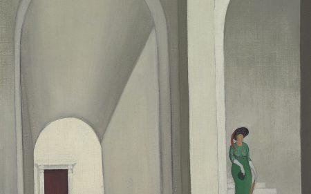 A figure ascending a staircase in an all white interior.
