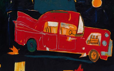 Jean-Michel Basquiat's painting of a red car and various shapes and abstractions in the background.
