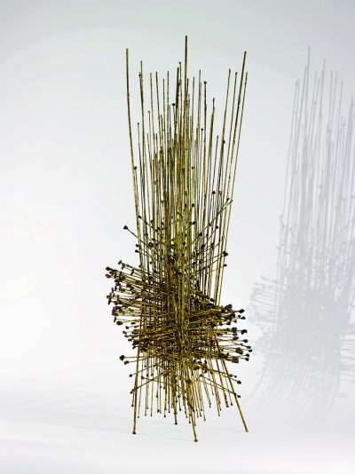 This work by Harry Bertoia is a brass maquette for a bigger work