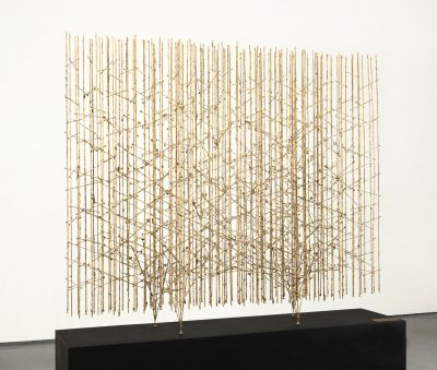 This sculpture is made of melted brass-coated steel and shows dynamic linear style