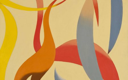 An abstract work with organic forms of red, yellow, orange and blue against a pale yellow background.