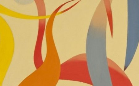 The flatness and linearity of the composition by Charles Biederman is contrasted with bold and vivid hues