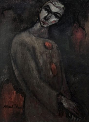 This work depicts a dark Pierrot in grey and red tones with heavy brushstrokes