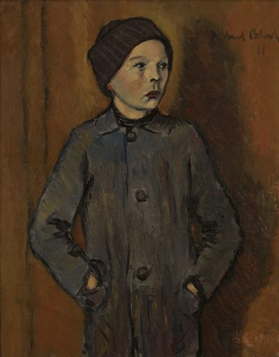 This Albert Bloch painting shows a young boy standing with his hands in his pockets.