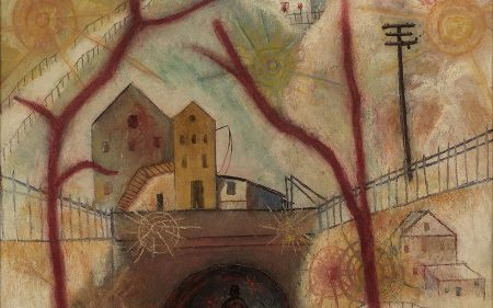 This Albert Bloch painting depicts a surreal vision of a man near a city tunnel in wintertime.