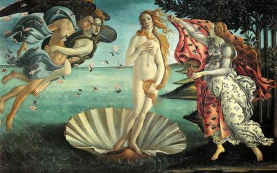 Venus is seen naked in a shell as emerging from the water