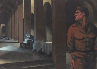 Paul Cadmus, American, 1904-1999. Notturno: Bologna, 1957. Egg tempera on gesso panel. 11 1/2 x 16 inches. Signed lower left. On loan from a private collection.