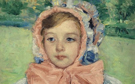 Detail of Mary Cassatt's Girl in a Bonnet Tied with a Large Pink Bow