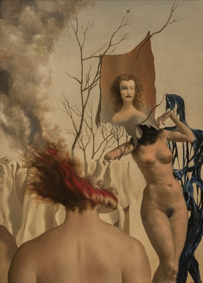 In this work, two classically modeled nude women occupy a landscape drawn from the subconscious: a cloud of smoke produced from a burning head, set against a dying tree and a theatrical, draped curtain.