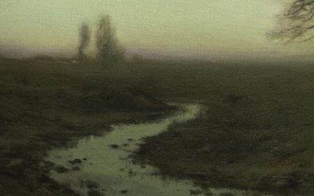 Detail of a river at dusk in Charles H. Davis' painting