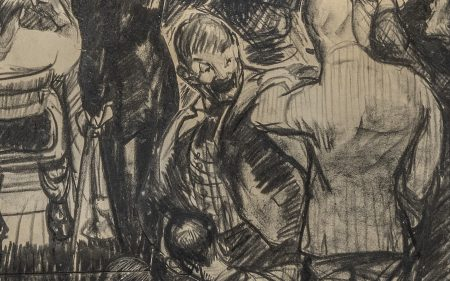 Detail of George Wesley Bellows' drawing of the winner of a boxing fight.