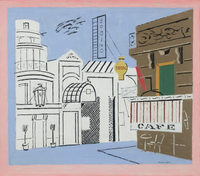 This work by Stuart Davis depicts a street corner with a cafe and music hall against a light blue background