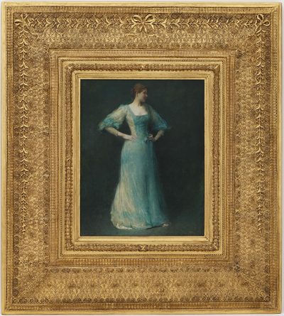 This Thomas Dewing painting called The Blue Dress features a young women standing in a light blue dress