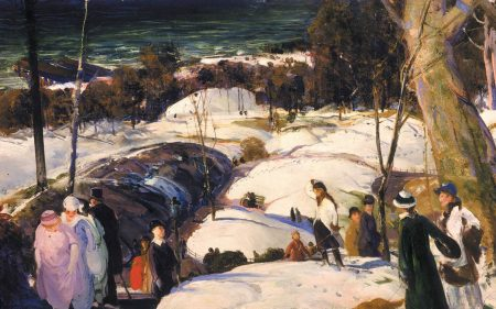 George Bellows ash can period work of people meandering on rolling hills with a body of water in the background.
