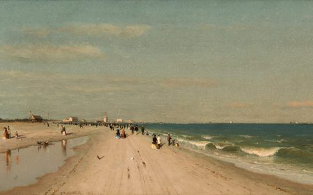Sandorf Robinson Gifford's image of people walking and enjoying a beach at Coney Island.