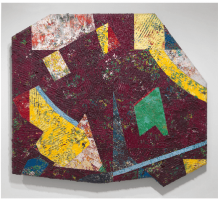 This is a predominantly purple work by Sam Gilliam with geometric shapes of pure color overlaid.