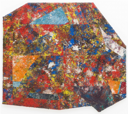 Sam Gilliam's abstract display of primary colors with bold, geometric forms underneath.