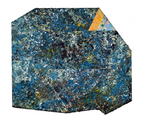 Sam Gilliam's splatter paint collage of shades of blue, with a few speckles of yellow and white.