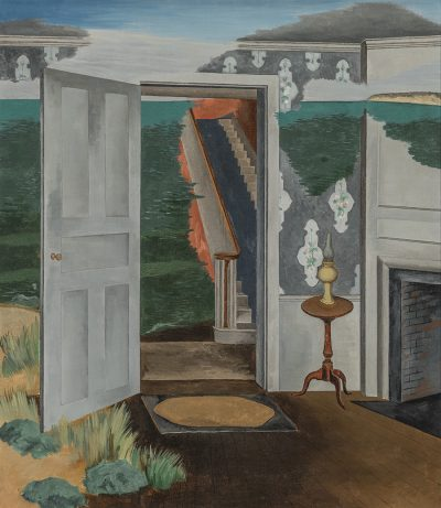 The painting depicts the entryway of a New England home with colonial furnishings typical of the 1930s. The doorway opens to reveal an eerie scene of a carpeted stairway surrounded by a vast sea. The wallpaper and walls gradually fade to reveal water, imagery which may suggest Guglielmi's view of the erosion of American culture and values during the Depression.