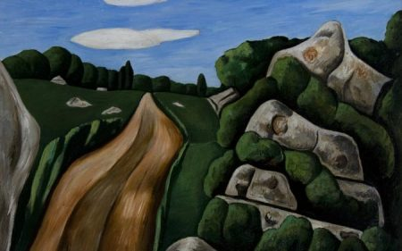 Marsden Hartley's painting of the rocky Northeastern landscape, with a brown dirt path on the left of the canvas and a collection of boulders and bushes on the right.