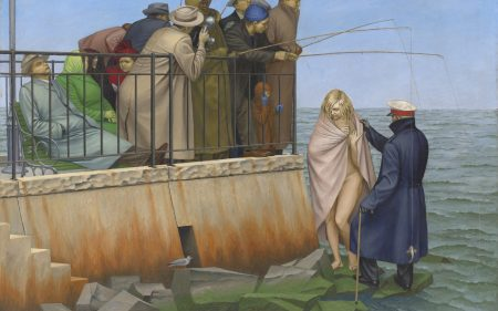 This work by Henry Koerner depicts men fishing and a woman emerging from the ocean