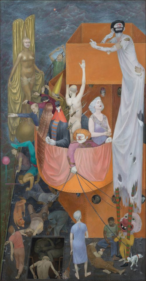 This work by Henry Koerner depicts dozens of clowns, freaks, acrobats, and other performers, recalling the nearby influence of Coney Island.