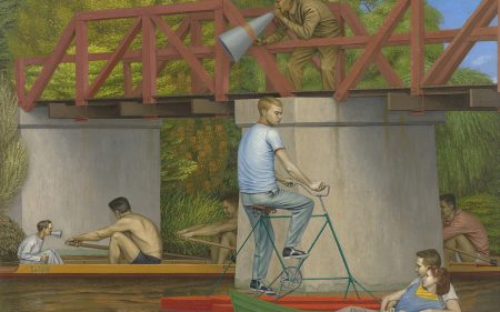 Painting of boaters and rowers passing under an iron bridge on a river.