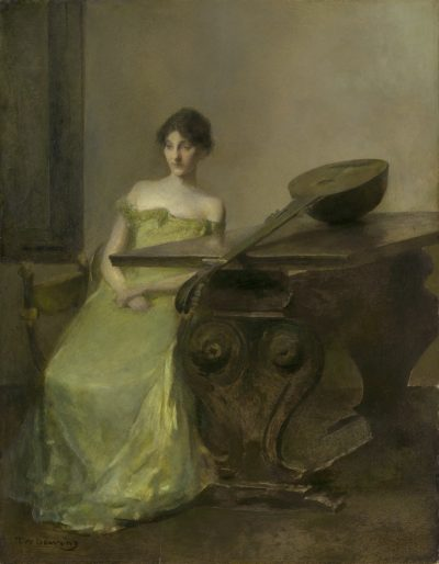 Thomas Dewing's painting The Lute is of a young woman in a yellow dress sitting next to a lute, place on a grand table