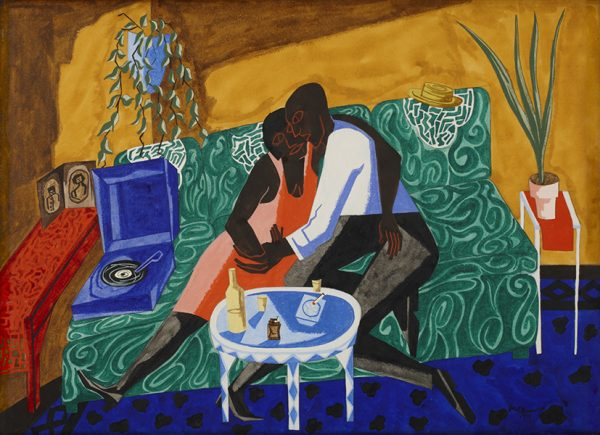 Painting in gouache by Jacob Lawrence, showing two black figures embracing on a bright green couch, against a bright yellow background