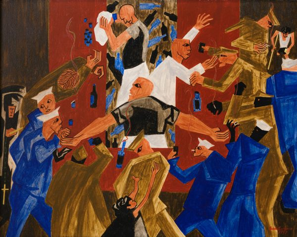 Colorful work by Jacob Lawrence showing a scene between men in army and navy uniforms and restaurant servers