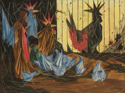 Jacob Lawrence's nativity scene with the holy family standing on the left and chickens in the foreground.