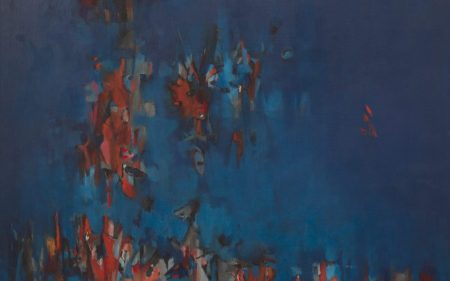 In this work by Norman Wilfred Lewis, the panel is bathed in a rich, ambient field of blue