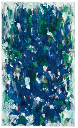 This work by Joan Mitchell is a powerful abstract composition in blue, highlighted with touches of white and green