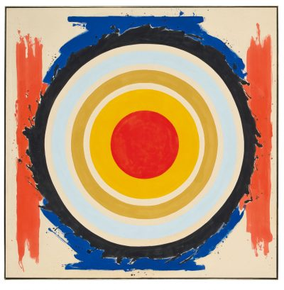 Bright composition by Kenneth Noland with circles in the center