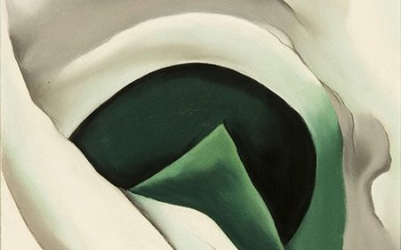 In this Georgia O'Keeffe work, the alligator pears almost disappear into abstraction, surrounded by arcing shapes of subtly blended white and gray pigment.