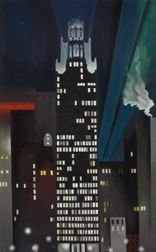 Georgia O'Keeffe, American, 1887-1986. Radiator Building – Night, New York, 1927. Oil on canvas. 48x 30 in. The Alfred Stieglitz collection. Crystal Bridges Museum of American Art.