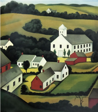 George Copeland Ault, American, 1891-1948. Early America, 1927.  Oil on canvas, 18 x 16 inches. Private collection.