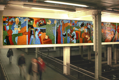 Mosaic mural by Jacob Lawrence in the Times Square subway station.