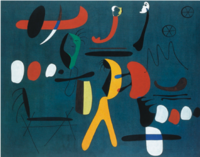 Colorful work in green, red and yellow by Joan Miro