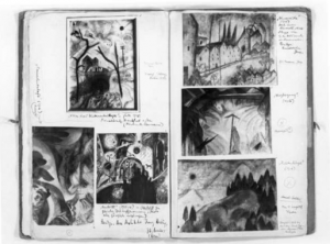 Inside pages of one of Albert Bloch's two Record Books, showing Vision of a Winter Afternoon at upper left.