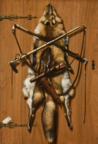 Alexander Pope uses a variety of black, brown and gold pigments highlighted with white to depict the fox pelt and assorted hunting accessories including whips, horns and spurs.