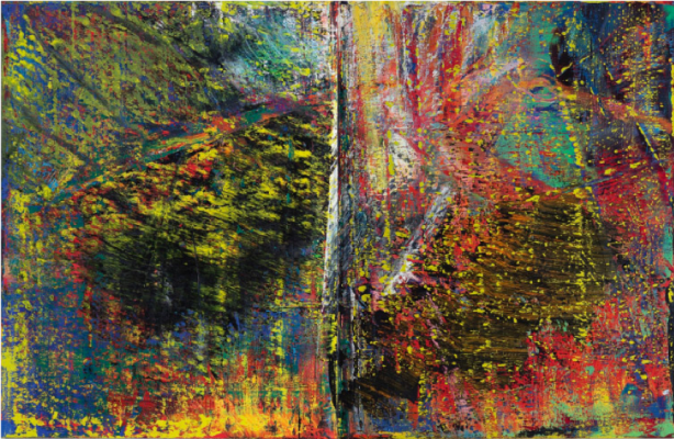 Gerhard Richter's Abstraktes Bild painting has a watercolor-esque swirl of colors in the background and splatters of yellow paint on top.