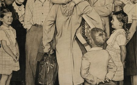 Norman Rockwell's work on paper where an individual is being greeted by a large crowd of their friends and family.